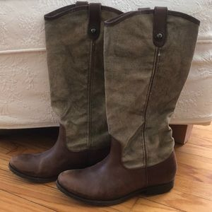 Frye Canvas Melissa Button Boot, Size 8